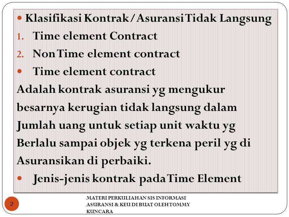 MATERI PERKULIAHAN SIS INFORMASI ASURANSI & KEU DI BUAT OLEH TOMMY KUNCARA 2 Klasifikasi Kontrak/Asuransi Tidak Langsung 1. Time element Contract 2. N