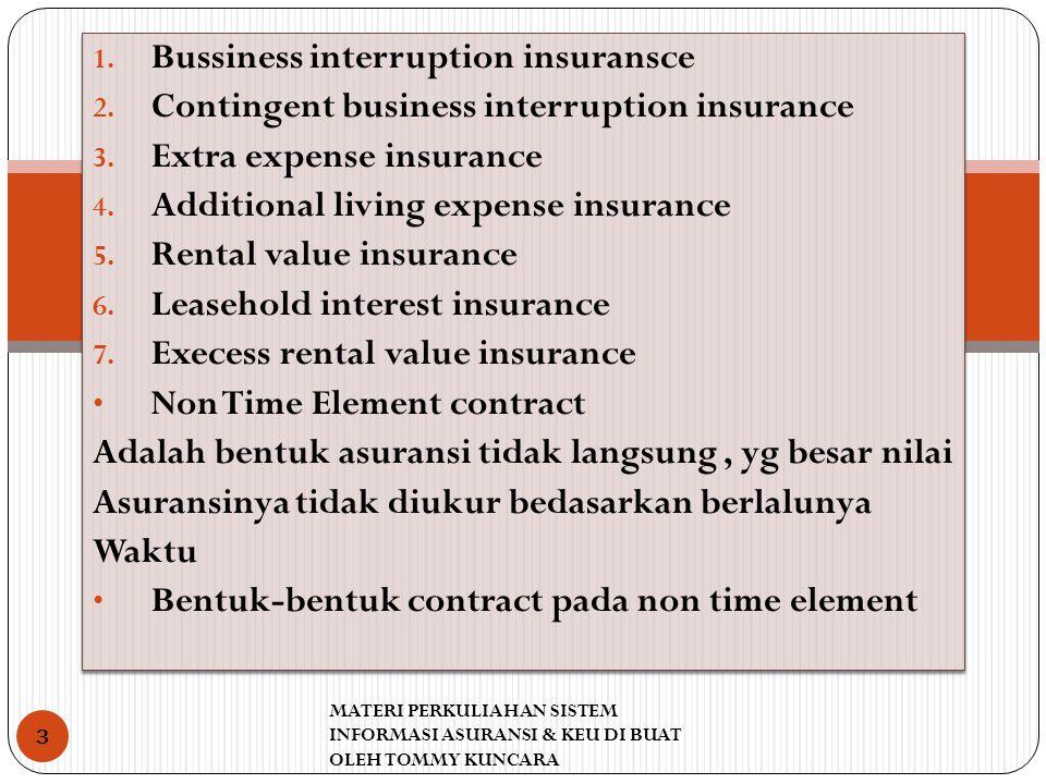 1. Bussiness interruption insuransce 2. Contingent business interruption insurance 3. Extra expense insurance 4. Additional living expense insurance 5