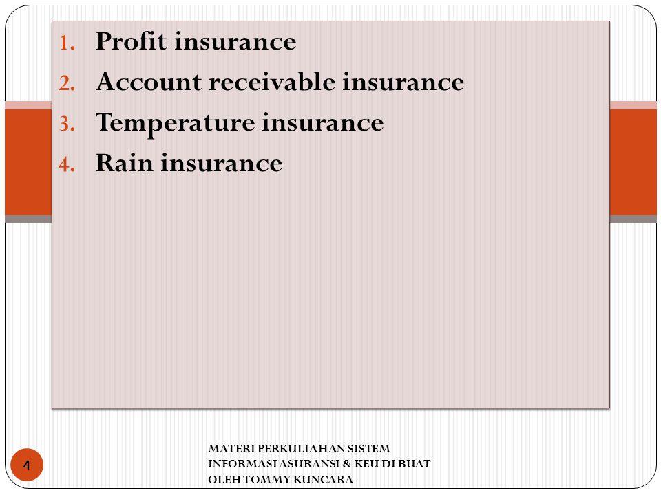 1. Profit insurance 2. Account receivable insurance 3. Temperature insurance 4. Rain insurance 1. Profit insurance 2. Account receivable insurance 3.