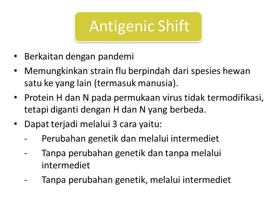 Berkaitan dengan pandemi Memungkinkan strain flu berpindah dari spesies hewan satu ke yang lain (termasuk manusia).