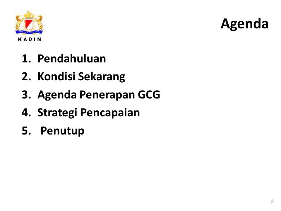 K A D I N Agenda 2 1.Pendahuluan 2.Kondisi Sekarang 3.Agenda Penerapan GCG 4.Strategi Pencapaian 5.