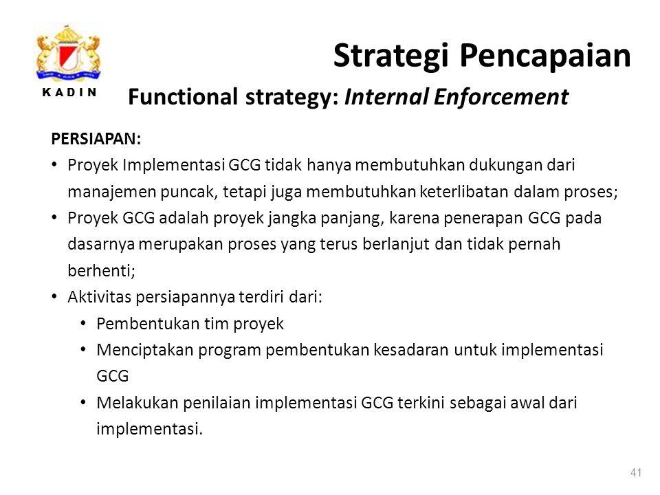 K A D I N Strategi Pencapaian 41 PERSIAPAN: Proyek Implementasi GCG tidak hanya membutuhkan dukungan dari manajemen puncak, tetapi juga membutuhkan keterlibatan dalam proses; Proyek GCG adalah proyek jangka panjang, karena penerapan GCG pada dasarnya merupakan proses yang terus berlanjut dan tidak pernah berhenti; Aktivitas persiapannya terdiri dari: Pembentukan tim proyek Menciptakan program pembentukan kesadaran untuk implementasi GCG Melakukan penilaian implementasi GCG terkini sebagai awal dari implementasi.