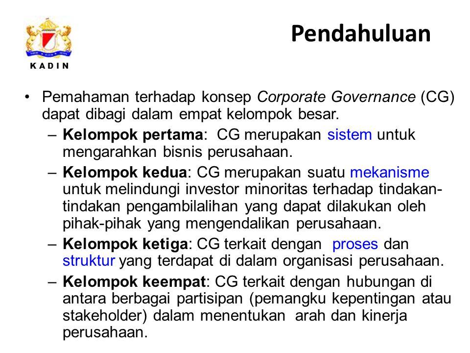 K A D I N Pemahaman terhadap konsep Corporate Governance (CG) dapat dibagi dalam empat kelompok besar.
