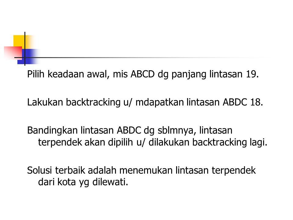 Pilih keadaan awal, mis ABCD dg panjang lintasan 19. Lakukan backtracking u/ mdapatkan lintasan ABDC 18. Bandingkan lintasan ABDC dg sblmnya, lintasan