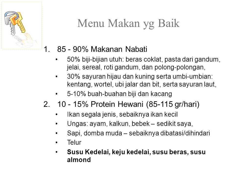 Menu Makan yg Baik 1.85 - 90% Makanan Nabati 50% biji-bijian utuh: beras coklat, pasta dari gandum, jelai, sereal, roti gandum, dan polong-polongan, 3