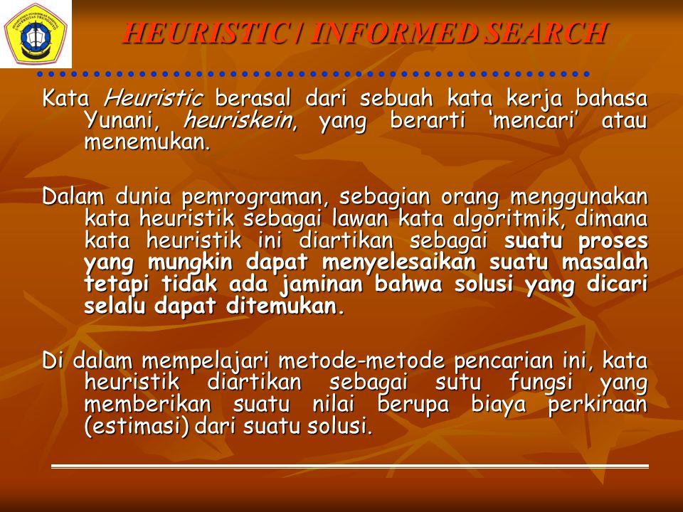 HEURISTIC / INFORMED SEARCH Kata Heuristic berasal dari sebuah kata kerja bahasa Yunani, heuriskein, yang berarti 'mencari' atau menemukan.