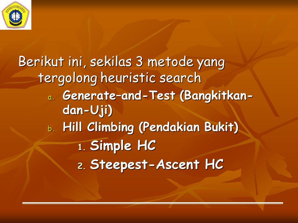 a.Generate–and-Test (GT) GT adalah metode yang paling sederhana dalam teknik pencarian heuristik.