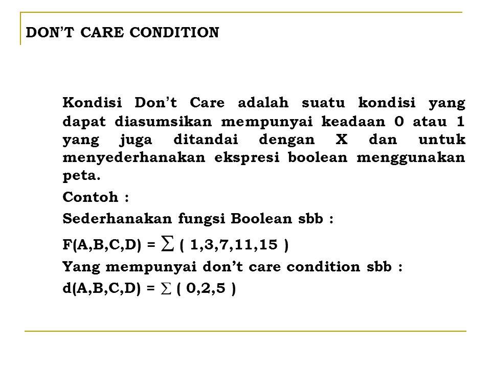 DON ' T CARE CONDITION Kondisi Don ' t Care adalah suatu kondisi yang dapat diasumsikan mempunyai keadaan 0 atau 1 yang juga ditandai dengan X dan unt
