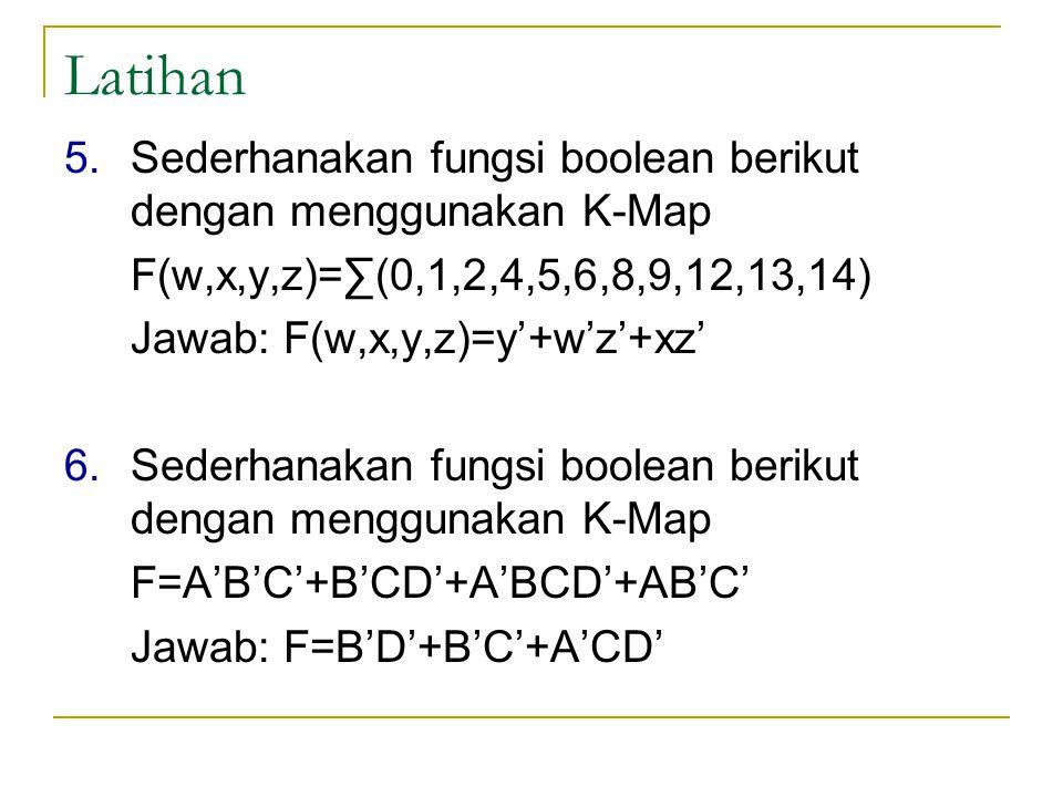 Latihan 5.Sederhanakan fungsi boolean berikut dengan menggunakan K-Map F(w,x,y,z)=∑(0,1,2,4,5,6,8,9,12,13,14) Jawab: F(w,x,y,z)=y'+w'z'+xz' 6.Sederhan