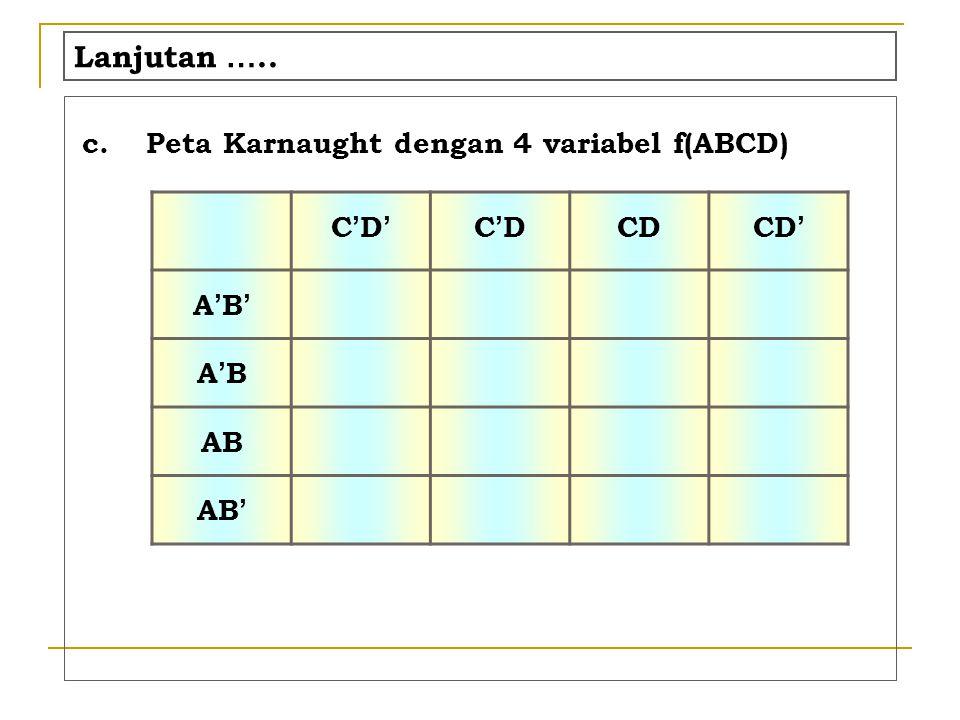 Lanjutan ….. c.Peta Karnaught dengan 4 variabel f(ABCD) C'D'C'D' C'DC'D CD CD ' A'B'A'B' A'BA'B AB AB '