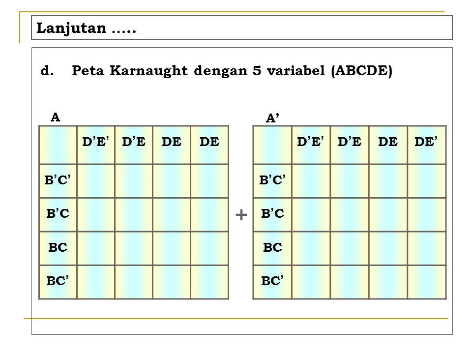 K-Map Example 1 f(A,B,C,D) =  m(0,5,7,8,10,12,14,15)  = B'C'D' + AD' + A'BD + BCD