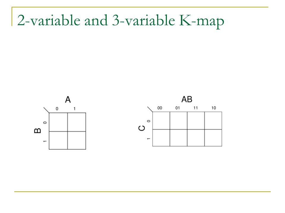 Latihan 5.Sederhanakan fungsi boolean berikut dengan menggunakan K-Map F(w,x,y,z)=∑(0,1,2,4,5,6,8,9,12,13,14) Jawab: F(w,x,y,z)=y'+w'z'+xz' 6.Sederhanakan fungsi boolean berikut dengan menggunakan K-Map F=A'B'C'+B'CD'+A'BCD'+AB'C' Jawab: F=B'D'+B'C'+A'CD'
