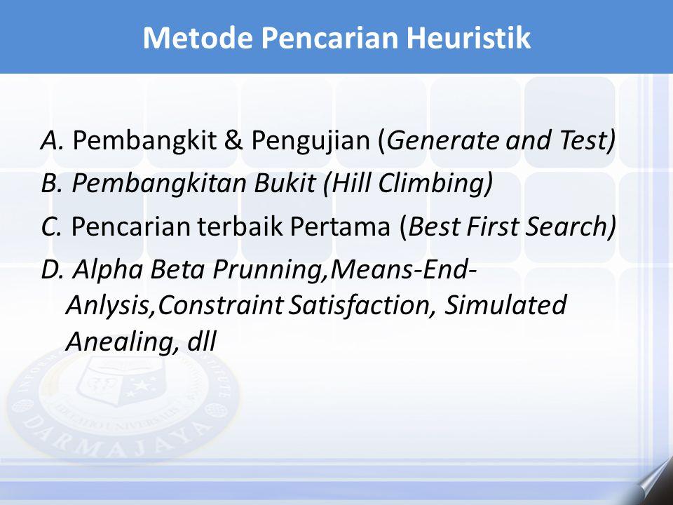 A. Pembangkit & Pengujian (Generate and Test) B. Pembangkitan Bukit (Hill Climbing) C. Pencarian terbaik Pertama (Best First Search) D. Alpha Beta Pru