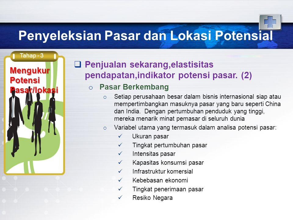 Penyeleksian Pasar dan Lokasi Potensial Tahap - 3 Mengukur Potensi Pasar/lokasi  Penjualan sekarang,elastisitas pendapatan,indikator potensi pasar. (
