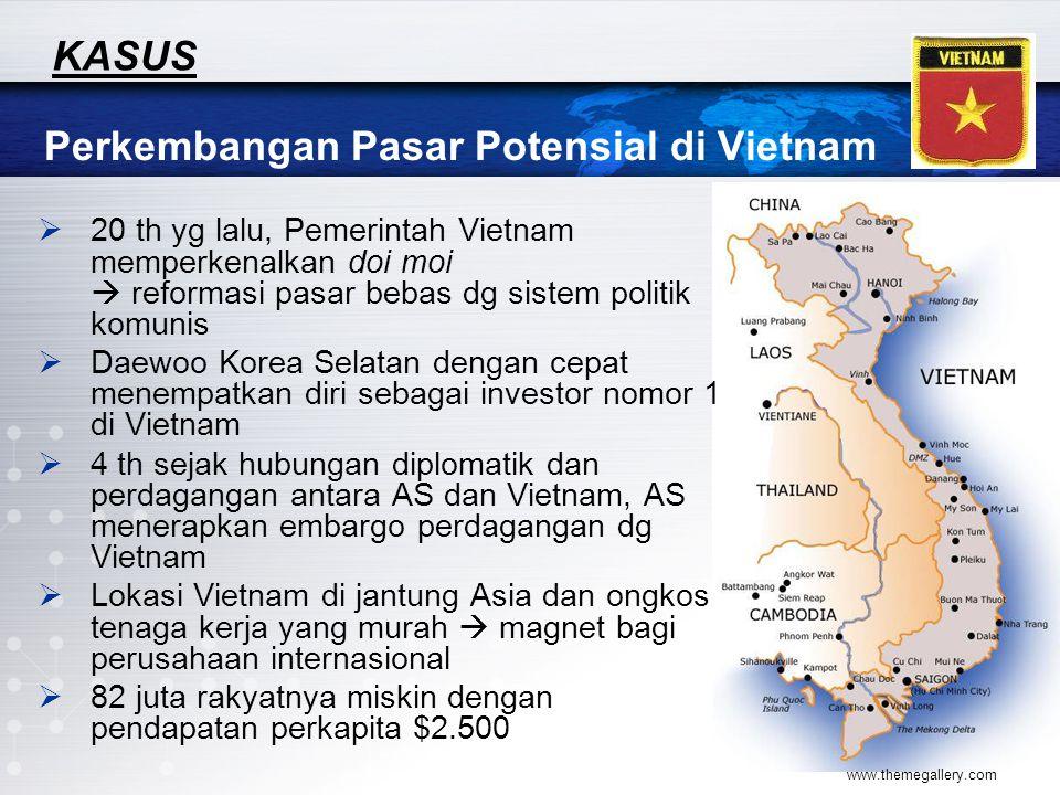 www.themegallery.com Perkembangan Pasar Potensial di Vietnam KASUS  20 th yg lalu, Pemerintah Vietnam memperkenalkan doi moi  reformasi pasar bebas