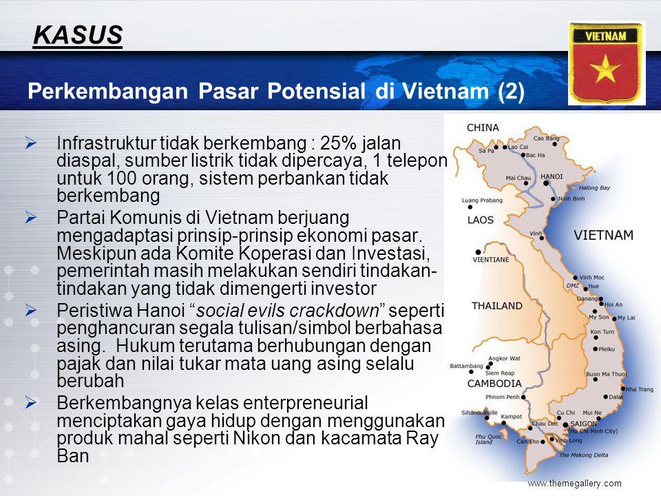 www.themegallery.com Perkembangan Pasar Potensial di Vietnam (2) KASUS  Infrastruktur tidak berkembang : 25% jalan diaspal, sumber listrik tidak dipe