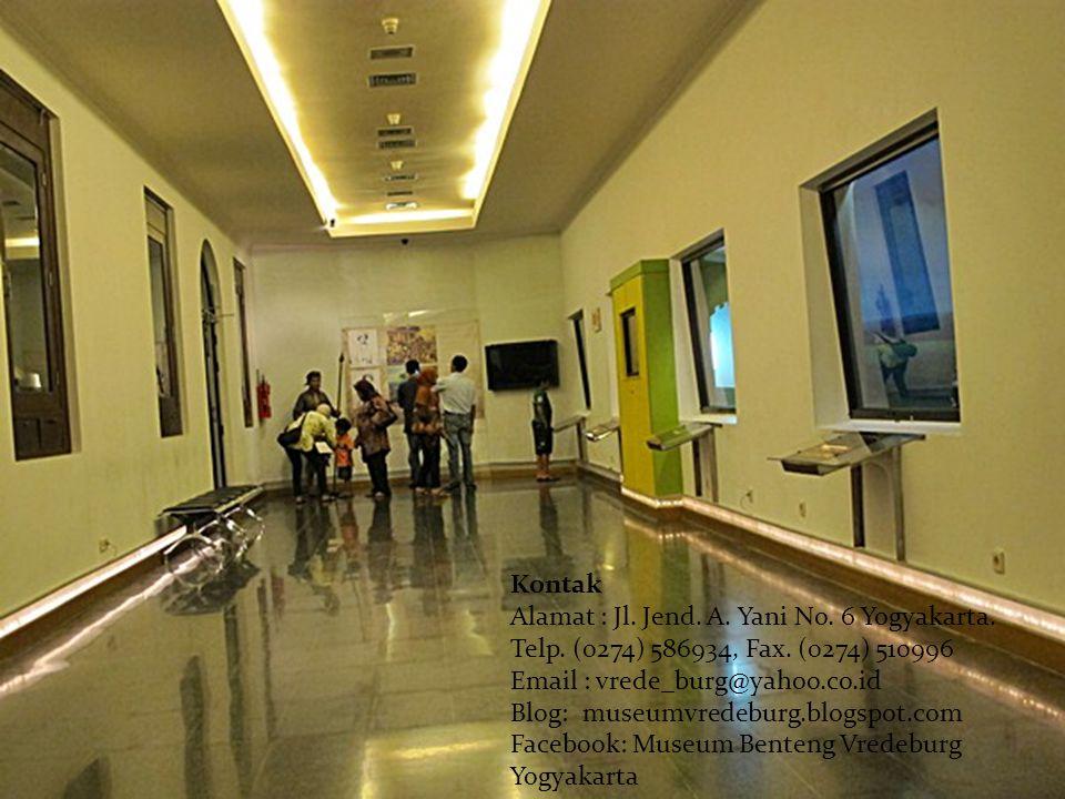 Kontak Alamat : Jl. Jend. A. Yani No. 6 Yogyakarta. Telp. (0274) 586934, Fax. (0274) 510996 Email : vrede_burg@yahoo.co.id Blog: museumvredeburg.blogs