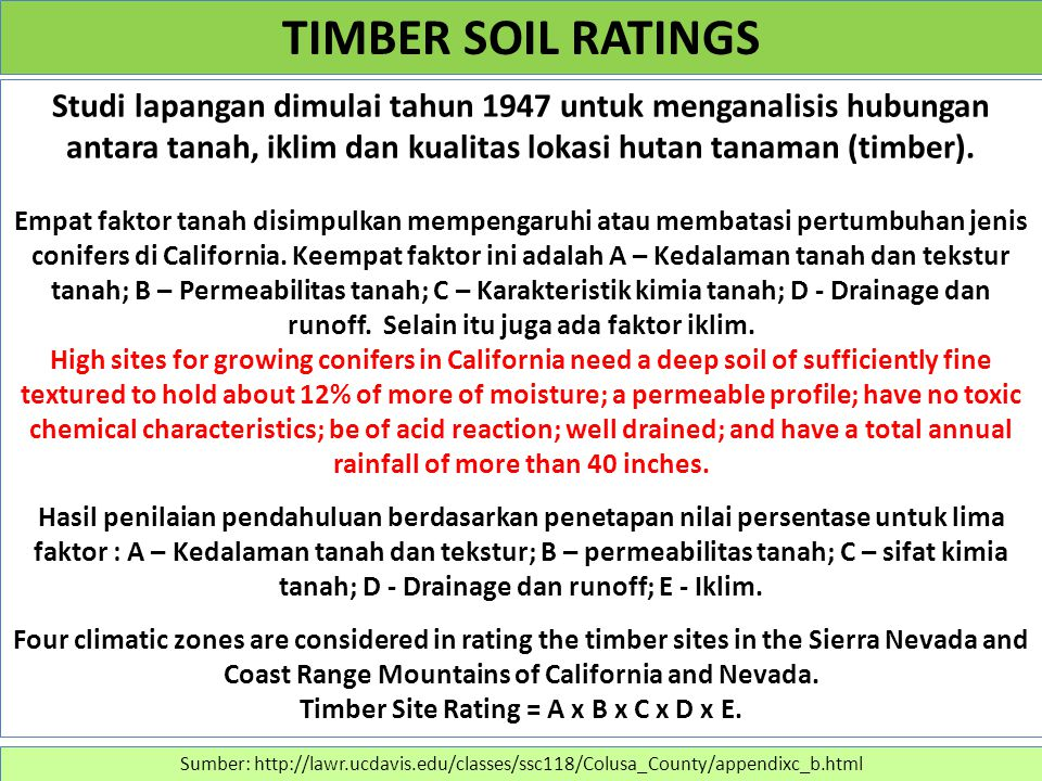 Studi lapangan dimulai tahun 1947 untuk menganalisis hubungan antara tanah, iklim dan kualitas lokasi hutan tanaman (timber). Empat faktor tanah disim