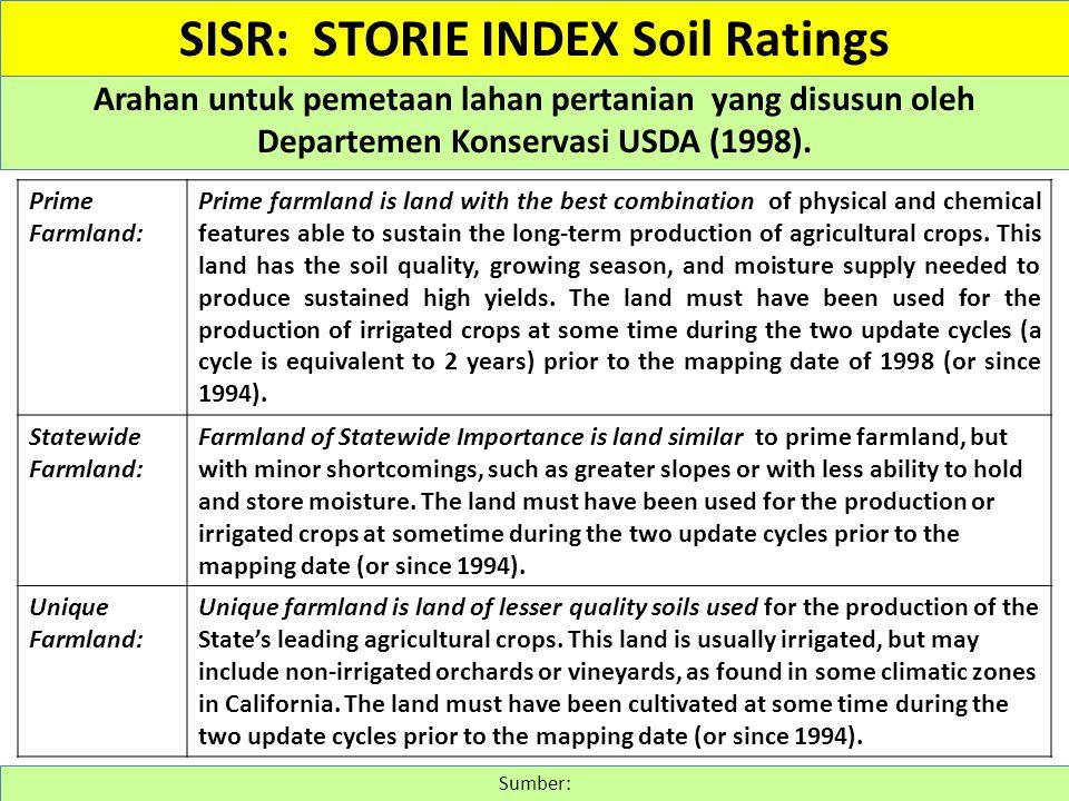 Arahan untuk pemetaan lahan pertanian yang disusun oleh Departemen Konservasi USDA (1998). Sumber: SISR: STORIE INDEX Soil Ratings Prime Farmland: Pri