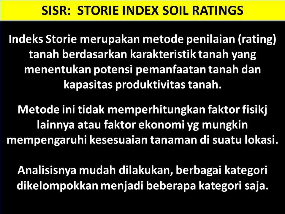 Indeks Storie merupakan metode penilaian (rating) tanah berdasarkan karakteristik tanah yang menentukan potensi pemanfaatan tanah dan kapasitas produk