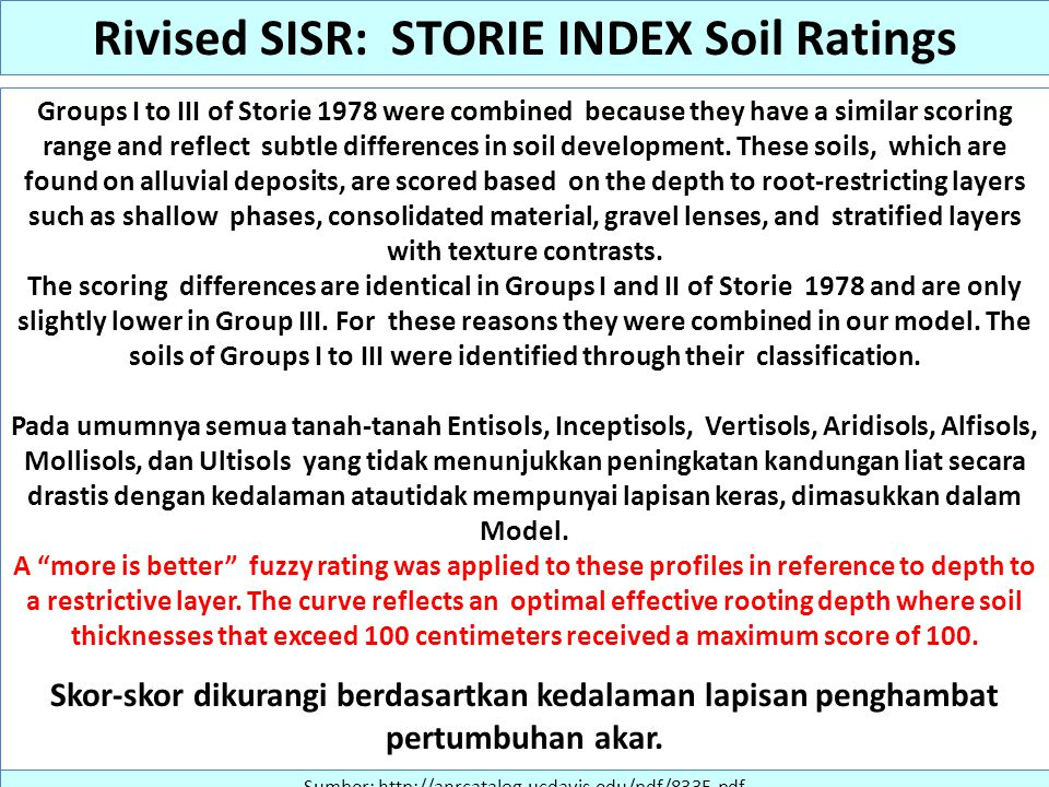 Groups I to III of Storie 1978 were combined because they have a similar scoring range and reflect subtle differences in soil development. These soils