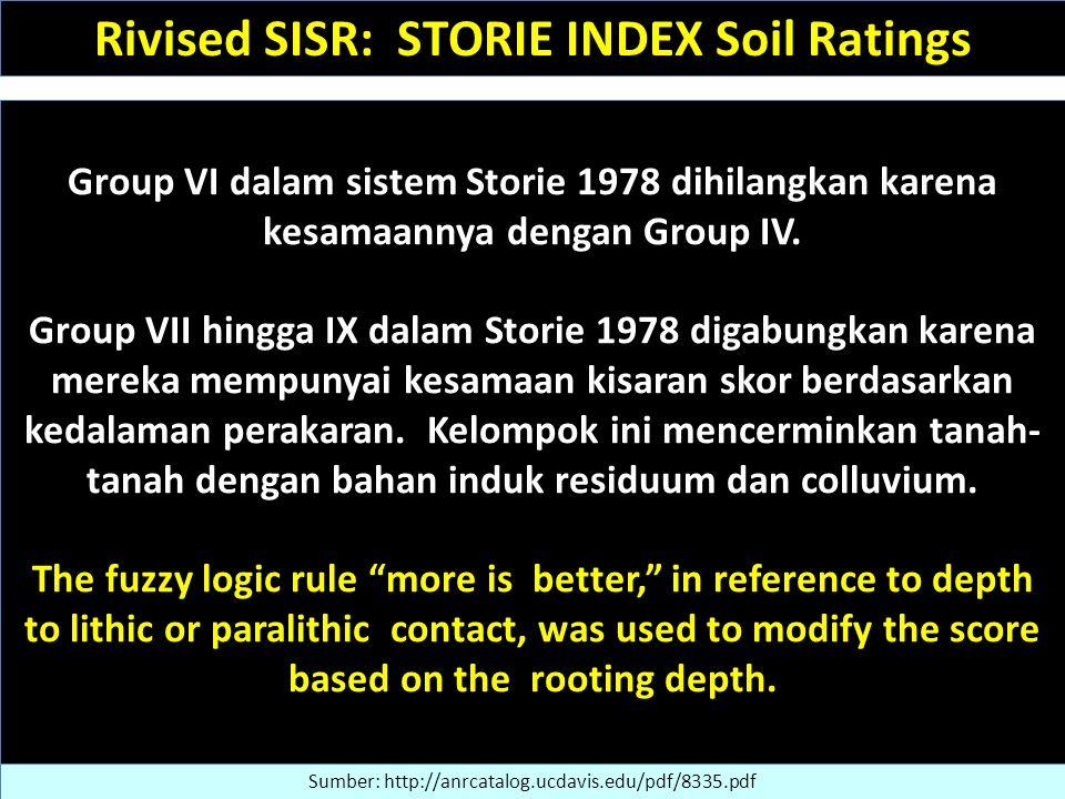 Group VI dalam sistem Storie 1978 dihilangkan karena kesamaannya dengan Group IV. Group VII hingga IX dalam Storie 1978 digabungkan karena mereka memp