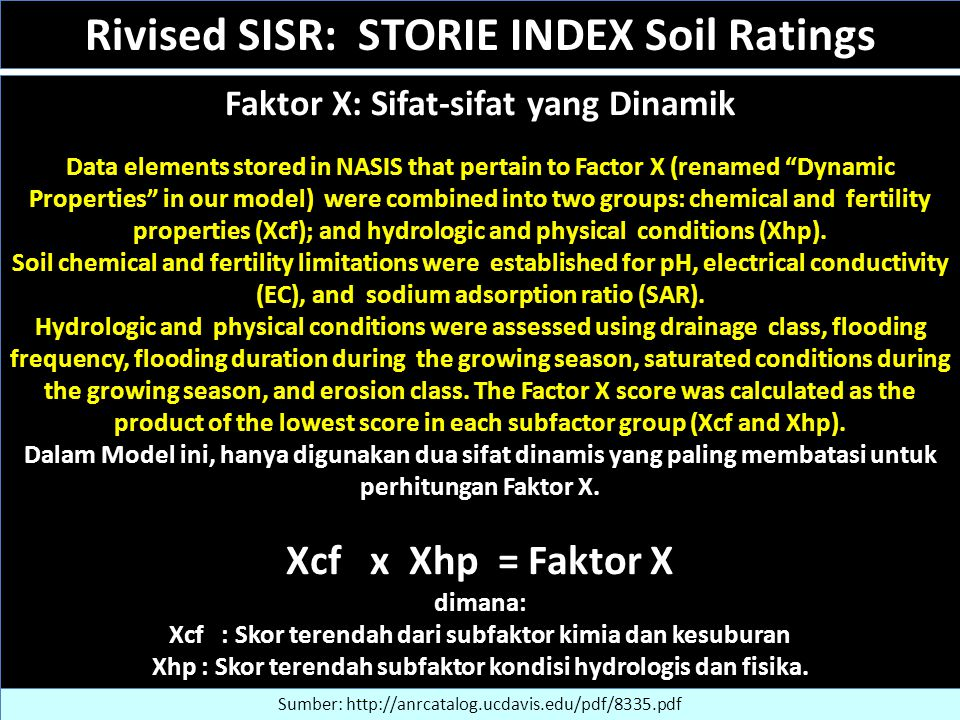 "Faktor X: Sifat-sifat yang Dinamik Data elements stored in NASIS that pertain to Factor X (renamed ""Dynamic Properties"" in our model) were combined in"