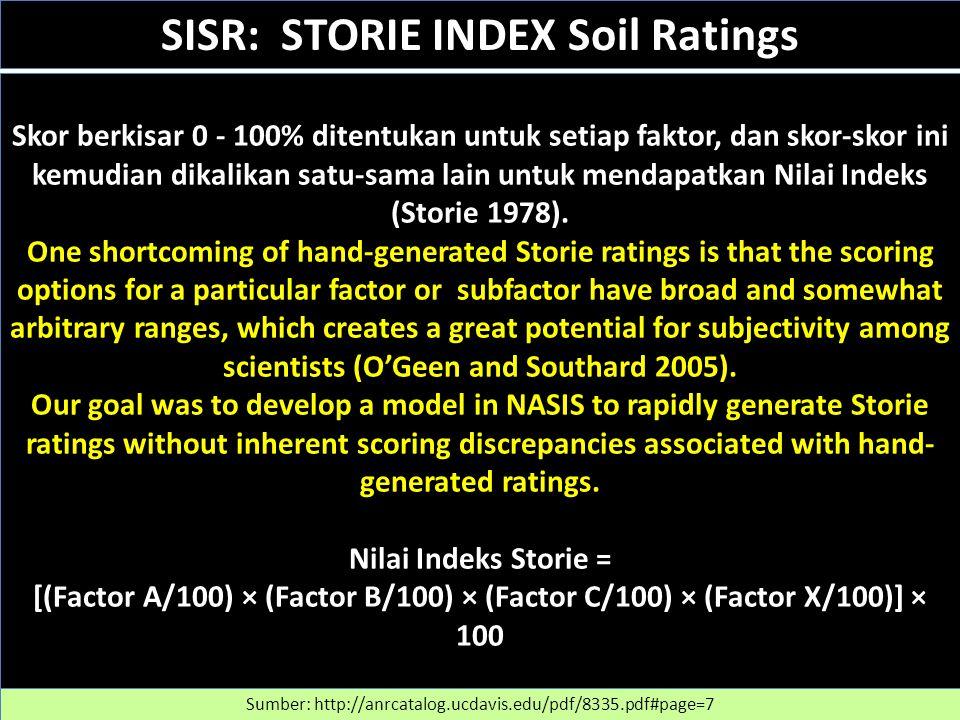 Skor berkisar 0 - 100% ditentukan untuk setiap faktor, dan skor-skor ini kemudian dikalikan satu-sama lain untuk mendapatkan Nilai Indeks (Storie 1978