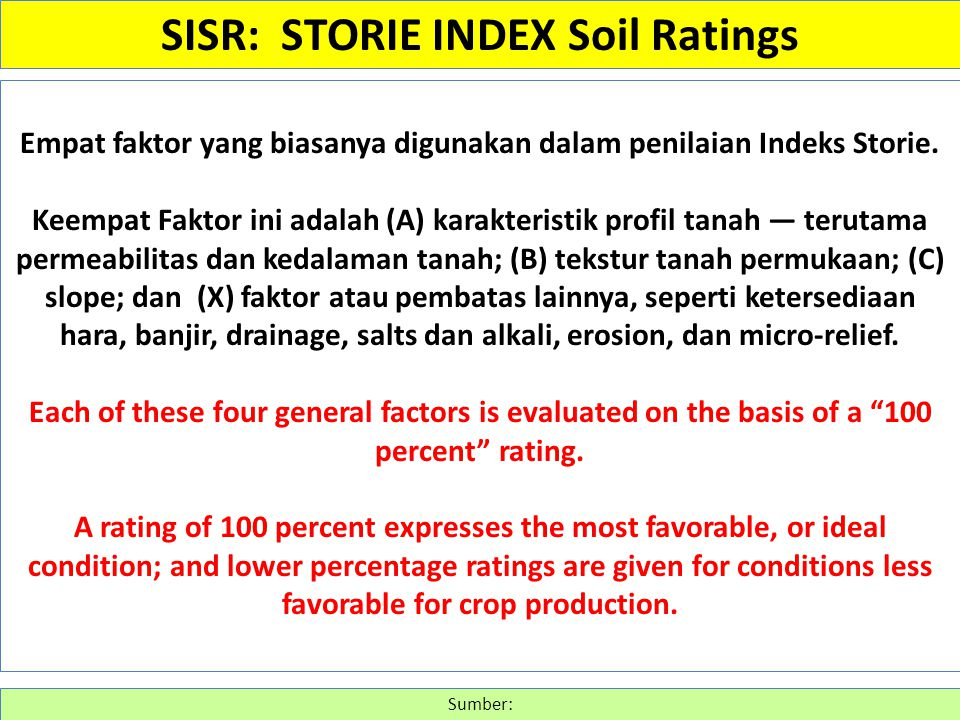 Empat faktor yang biasanya digunakan dalam penilaian Indeks Storie. Keempat Faktor ini adalah (A) karakteristik profil tanah ― terutama permeabilitas