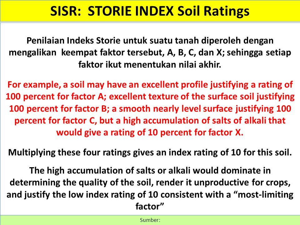Penilaian Indeks Storie untuk suatu tanah diperoleh dengan mengalikan keempat faktor tersebut, A, B, C, dan X; sehingga setiap faktor ikut menentukan