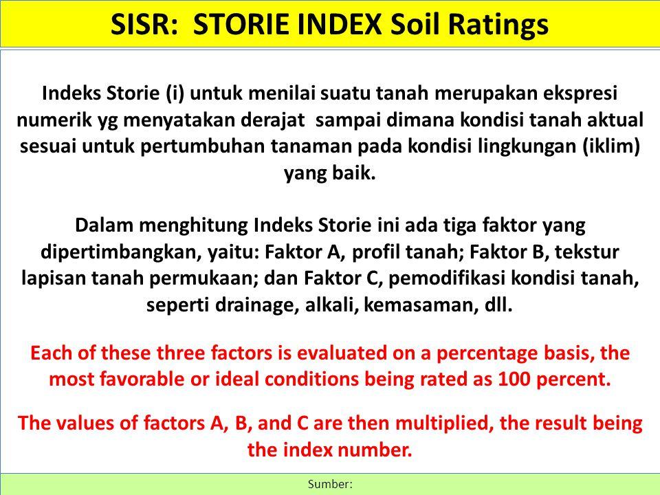 Indeks Storie (i) untuk menilai suatu tanah merupakan ekspresi numerik yg menyatakan derajat sampai dimana kondisi tanah aktual sesuai untuk pertumbuh