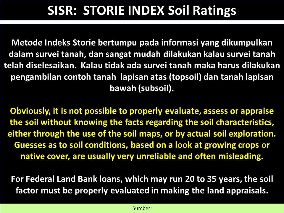 Metode Indeks Storie bertumpu pada informasi yang dikumpulkan dalam survei tanah, dan sangat mudah dilakukan kalau survei tanah telah diselesaikan. Ka