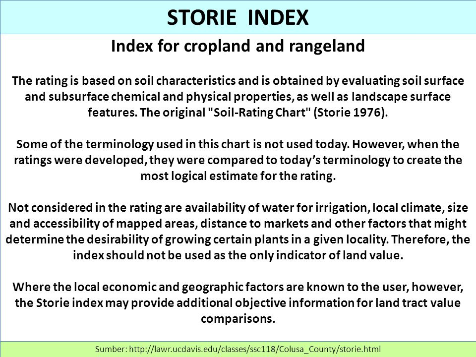 Index for cropland and rangeland The rating is based on soil characteristics and is obtained by evaluating soil surface and subsurface chemical and ph