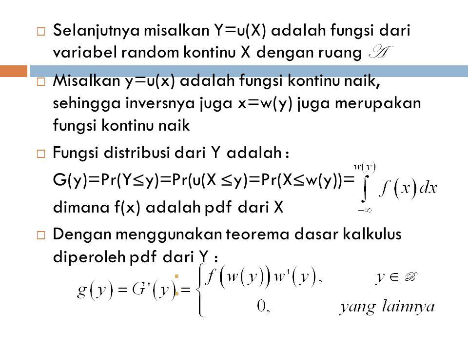  Selanjutnya misalkan Y=u(X) adalah fungsi dari variabel random kontinu X dengan ruang A  Misalkan y=u(x) adalah fungsi kontinu naik, sehingga inver