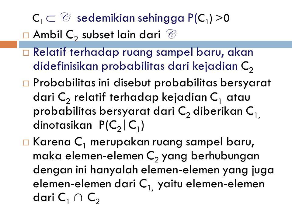 C 1  C sedemikian sehingga P( C 1 ) >0  Ambil C 2 subset lain dari C  Relatif terhadap ruang sampel baru, akan didefinisikan probabilitas dari keja