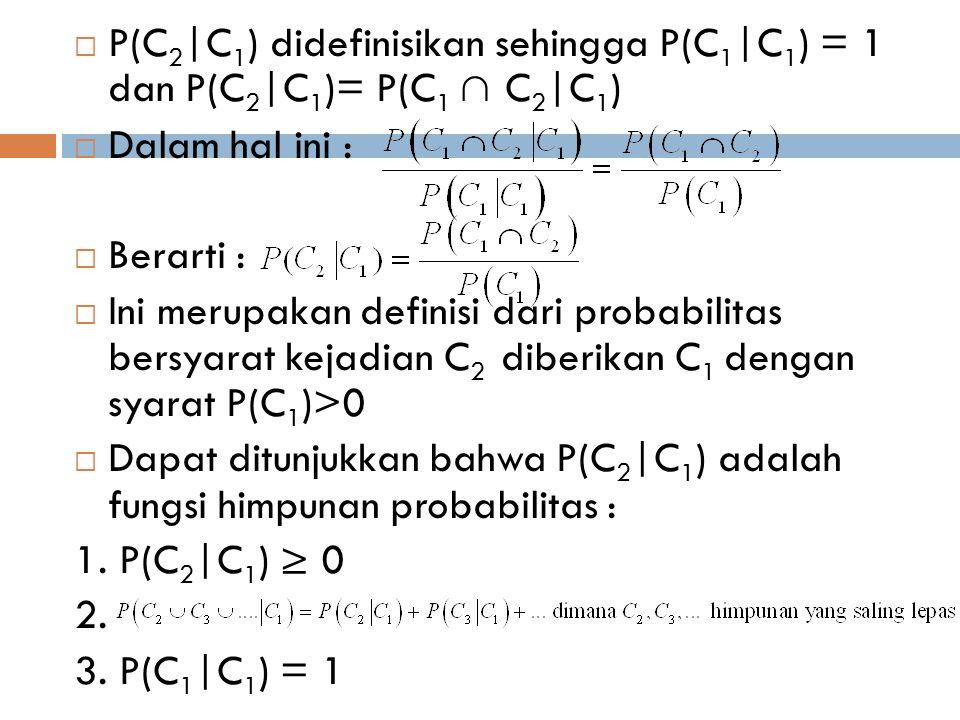  P(C 2 |C 1 ) didefinisikan sehingga P(C 1 |C 1 ) = 1 dan P(C 2 |C 1 )= P(C 1 ∩ C 2 |C 1 )  Dalam hal ini :  Berarti :  Ini merupakan definisi dar