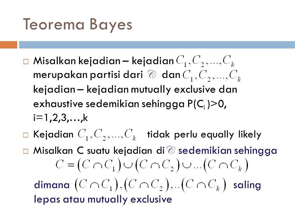 Teorema Bayes  Misalkan kejadian – kejadian merupakan partisi dari C dan kejadian – kejadian mutually exclusive dan exhaustive sedemikian sehingga P(