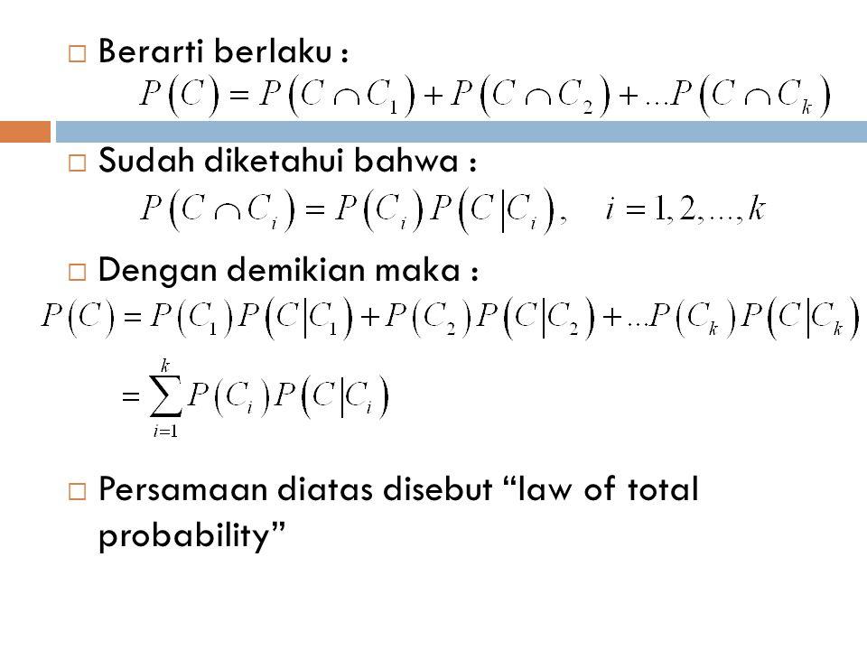 """ Berarti berlaku :  Sudah diketahui bahwa :  Dengan demikian maka :  Persamaan diatas disebut """"law of total probability"""""""