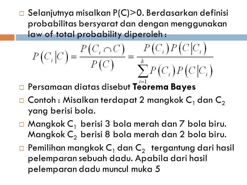  Selanjutnya misalkan P(C)>0. Berdasarkan definisi probabilitas bersyarat dan dengan menggunakan law of total probability diperoleh :  Persamaan dia