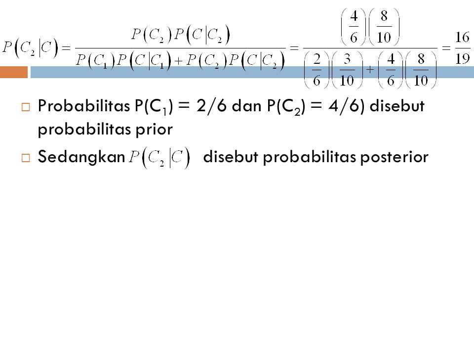  Probabilitas P(C 1 ) = 2/6 dan P(C 2 ) = 4/6) disebut probabilitas prior  Sedangkan disebut probabilitas posterior