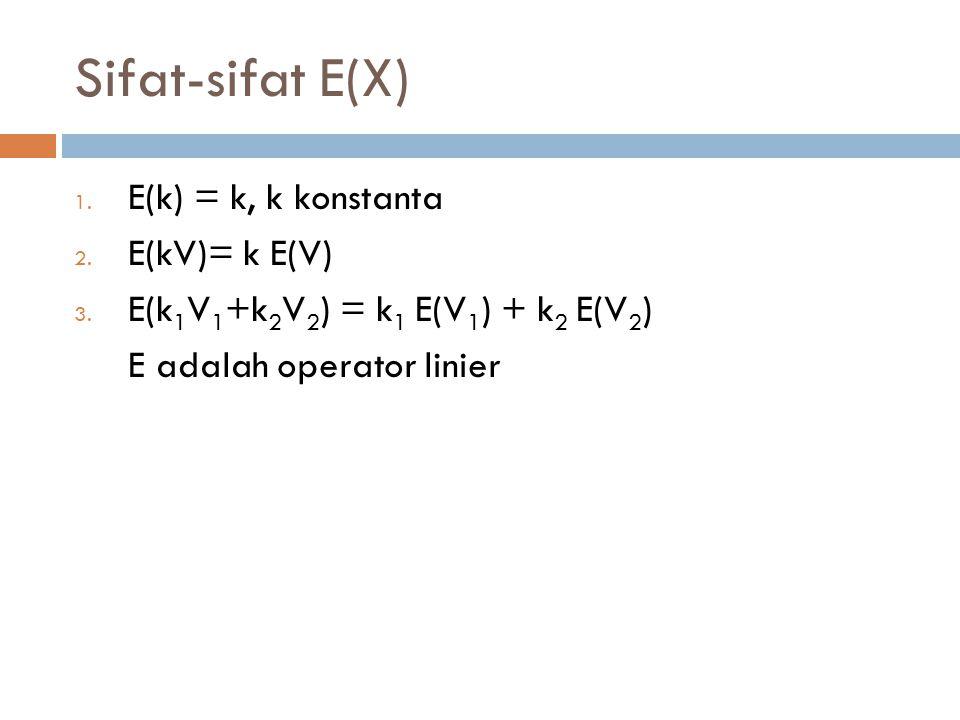 Sifat-sifat E(X) 1. E(k) = k, k konstanta 2. E(kV)= k E(V) 3. E(k 1 V 1 +k 2 V 2 ) = k 1 E(V 1 ) + k 2 E(V 2 ) E adalah operator linier