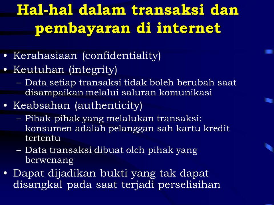 Hal-hal dalam transaksi dan pembayaran di internet Kerahasiaan (confidentiality) Keutuhan (integrity) –Data setiap transaksi tidak boleh berubah saat
