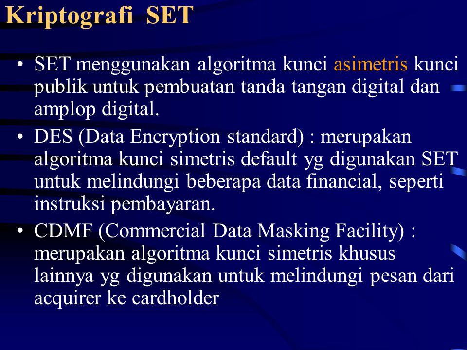 Kriptografi SET SET menggunakan algoritma kunci asimetris kunci publik untuk pembuatan tanda tangan digital dan amplop digital. DES (Data Encryption s