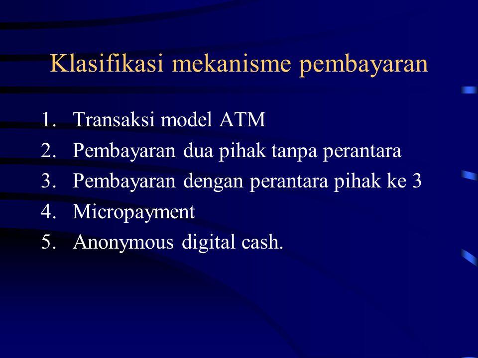 Klasifikasi mekanisme pembayaran 1.Transaksi model ATM 2.Pembayaran dua pihak tanpa perantara 3.Pembayaran dengan perantara pihak ke 3 4.Micropayment 5.Anonymous digital cash.
