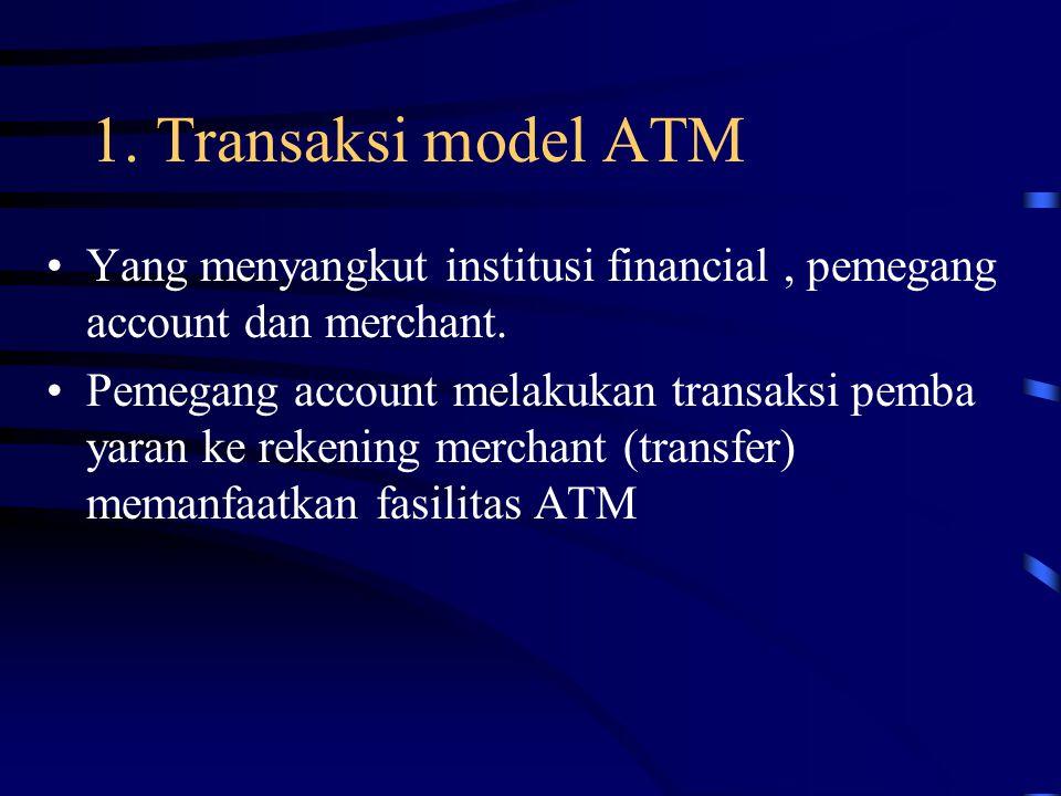 1. Transaksi model ATM Yang menyangkut institusi financial, pemegang account dan merchant. Pemegang account melakukan transaksi pemba yaran ke rekenin
