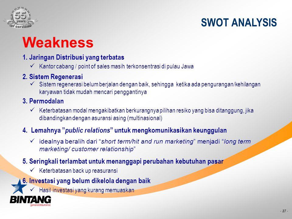 - 27 - SWOT ANALYSIS Weakness Kantor cabang / point of sales masih terkonsentrasi di pulau Jawa 1. Jaringan Distribusi yang terbatas Sistem regenerasi