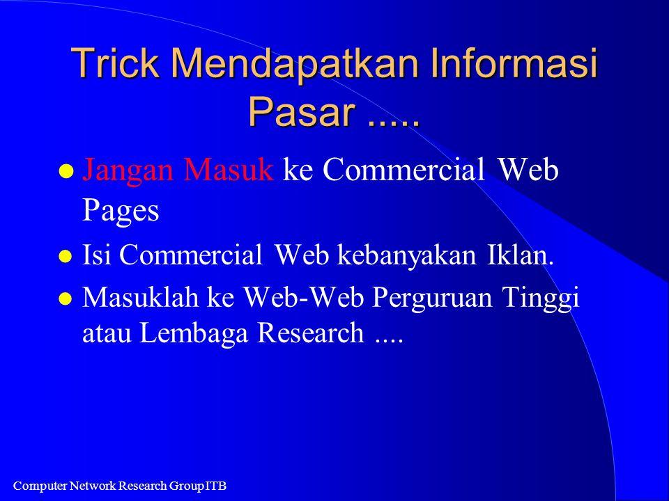 Computer Network Research Group ITB Trick Mendapatkan Informasi Pasar..... l Jangan Masuk ke Commercial Web Pages l Isi Commercial Web kebanyakan Ikla