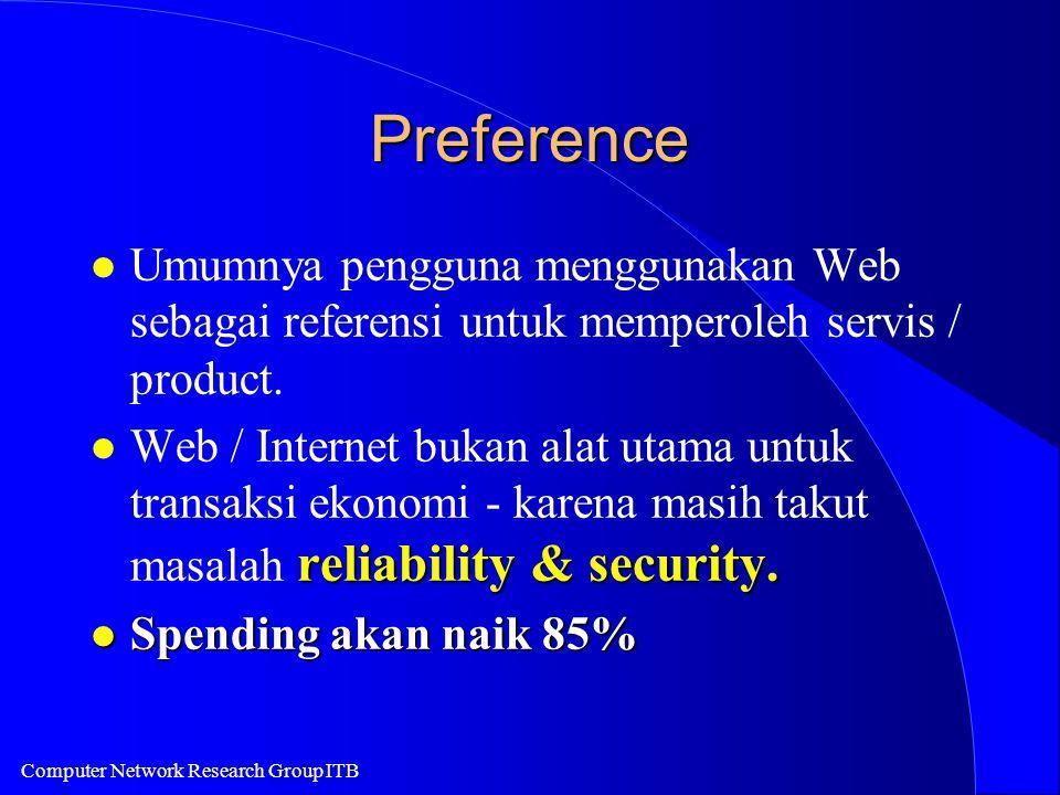 Computer Network Research Group ITB Preference l Umumnya pengguna menggunakan Web sebagai referensi untuk memperoleh servis / product. reliability & s