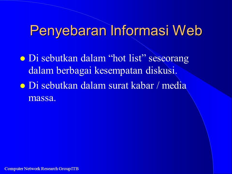 Computer Network Research Group ITB Penyebaran Informasi Web l Di sebutkan dalam hot list seseorang dalam berbagai kesempatan diskusi.