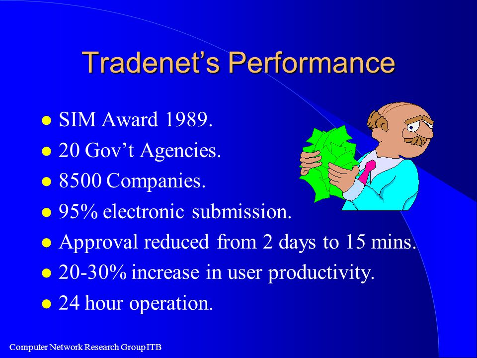 Computer Network Research Group ITB Tradenet's Performance l SIM Award 1989.